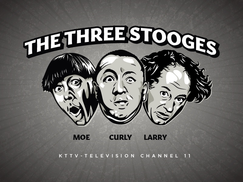 The Three Stooges type hair eyes smile face three stooges three stooge illustraion portrait person