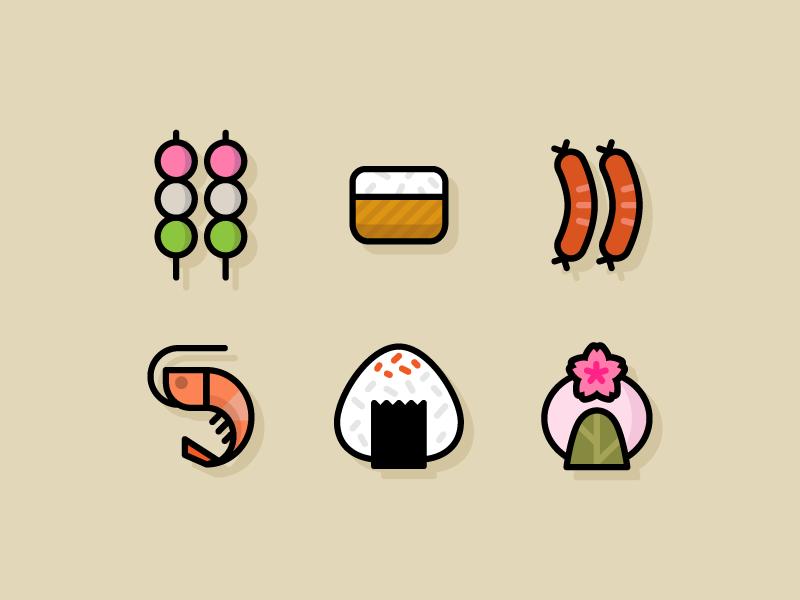 Hanami Food sakuramochi onigiri shrimp hotdog inari dango hanami food icons icons