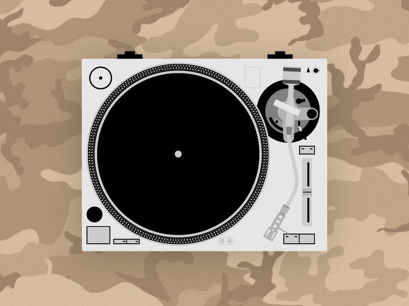Record Player camo pattern camouflage turn table record player illustration vector