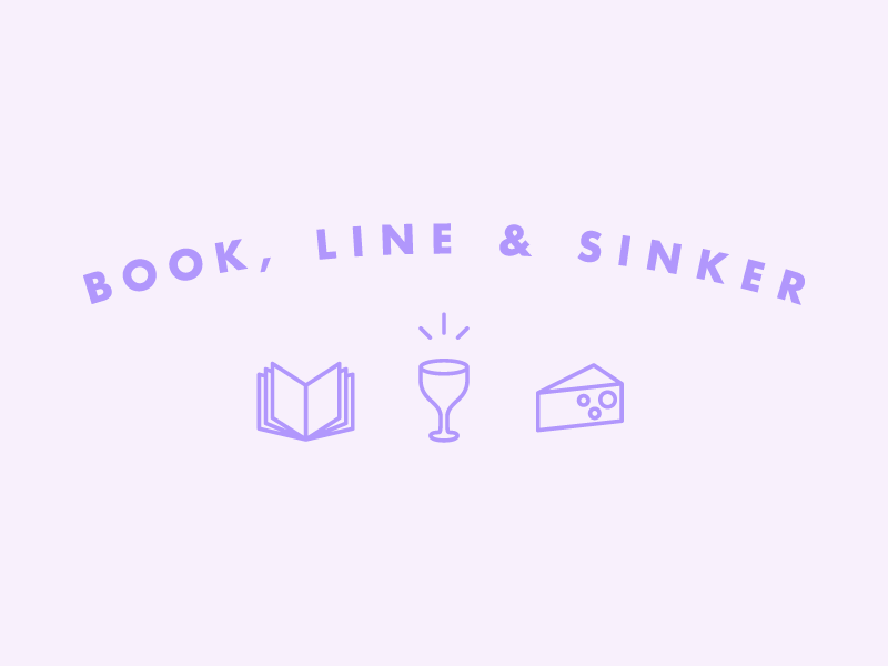Book, Line & Sinker vector illustration book wine cheese logo book club
