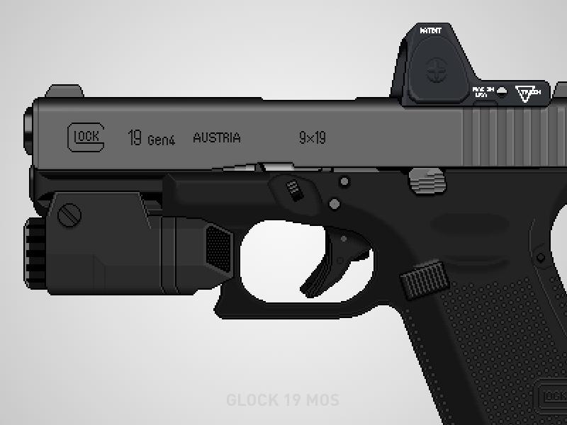 Glock 19 MOS pew pew pew 9mm inforce trijicon pixel art glock