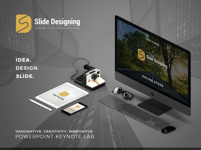 Presentation Template Store store front goods digital market symbol space store design presentation slide sketch simple store