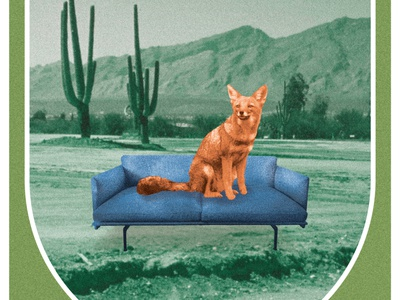 Couchyote mountains collage gig poster tour poster cactus cacti desert couchsurfing futon couch