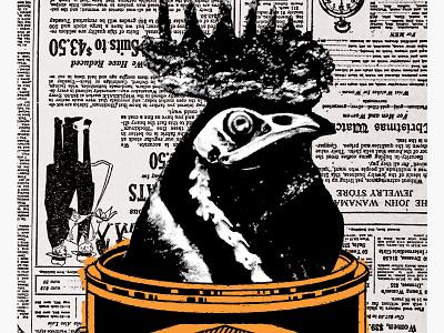 Bucket of Chicken concert flyer poster gig poster orange newspaper painter animal skeleton chicken paint bucket