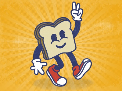 Mr. Two Slices cartoon crust sneakers character rubberhose vintage retro slices bread