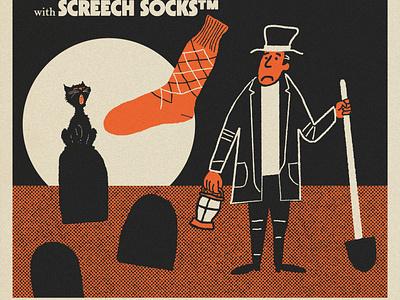 Fake Sock ad halloween drawlloween argyle retro design shovel cat grave advertisement ad vintage photoshop sock socks