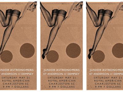 Nylons gig poster flyer pantyhose nylons sc music ohno btid