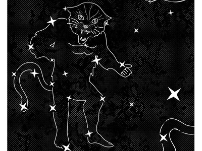 Catstellation feline black cat cat constellation poster gig poster stars ohno btid
