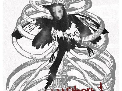 creepy and disturbing spine ribs concert poster art gig poster disturbing creepy rib cage bird ohno btid