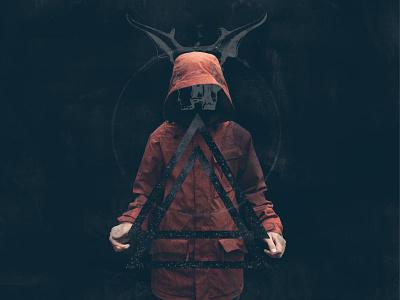 The Occult disturbing weird stars red halloween demon triangles hood horns occult