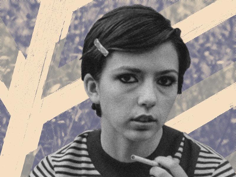 Smoking girl 2 stripes gig poster halftone smoke noise blue woman cigarette smoking