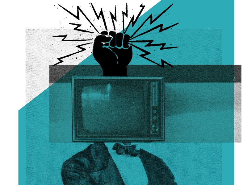 TV reception poster art gig poster fuzz noise lightning fist bow tie suit head tv television