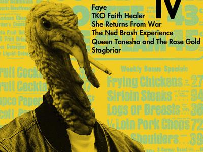 Smoking Turkey advertisement ad news ad photoshop poster gig poster green yellow jacket smoking cigarette turkey bird