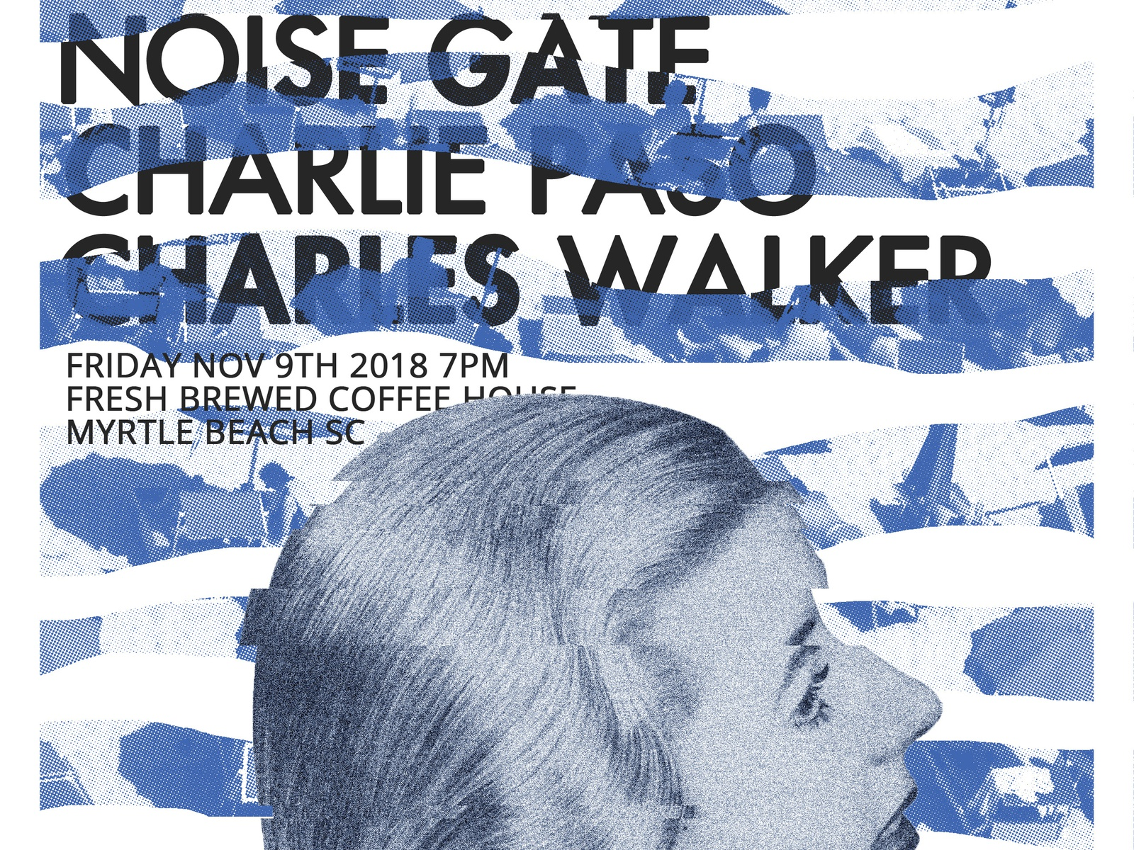 Umbrellas flyer poster gig poster glitch water static noise blue woman lady coffee house myrtle beach sand beach umbrella