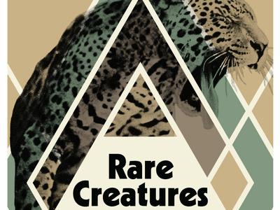 Big Cat halftone gig poster gig spots earth tones shapes lines creatures leopard jaguar cat