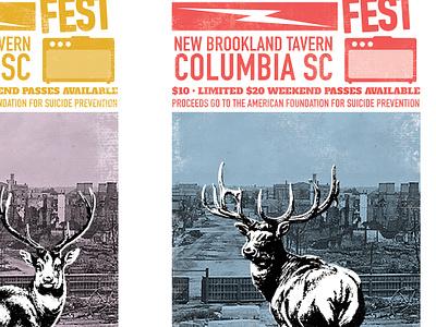 Stick Tight Fest concert gig print amplifier ampersand deer south carolina columbia halftone blue poster gig poster