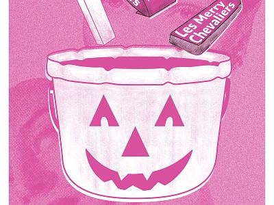 Halloween Hootenanny pink sugar daddy eyes mask pumpkin jackolantern candy bucket halloween photoshop flyer gig poster