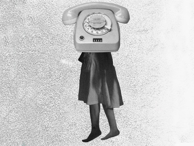 Telephone Head poster gig poster flyer noise black and white fever rotary photoshop static fuzz dress legs telephone