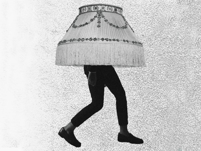 Lamp Head poster gig poster flyer photoshop noise static fuzz black and white suit legs shade lamp