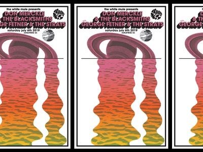 Saturn Lake psychedelic strays blacksmiths gig poster flyer poster concert border south carolina columbia river planets moon pink gradient lake saturn