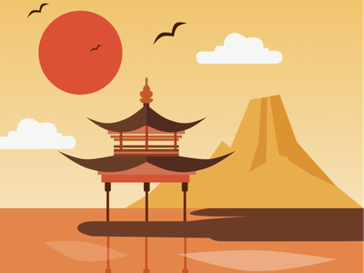 Pavilion figma vector illustration chinese culture