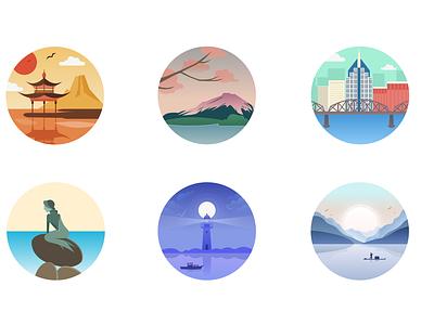 Landmarks Flat Illustrations illustration web icon branding logo chinese culture figma