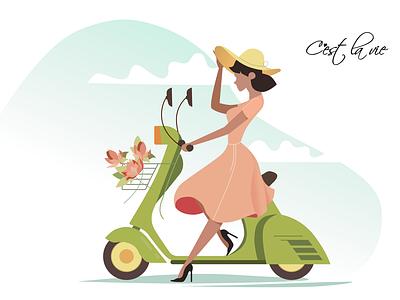 Postcard - C'est la vie postcard design character illustration figma