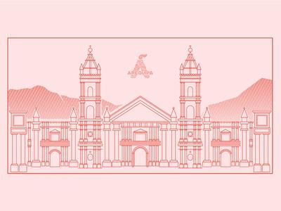 Ilustración lineal de la catedral Arequipa