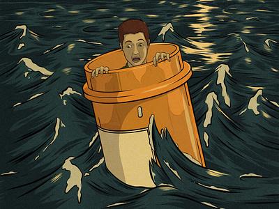 Lost at Sea editorial illustration pharmaceuticals humorous illustration comedy procreate adobe illustrator illustration