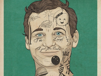 Bill Murray humorous illustration humor pop culture adobe photoshop adobe illustrator design pop art film advertising illustration movies movie art comedy celebrity illustraion tattoo