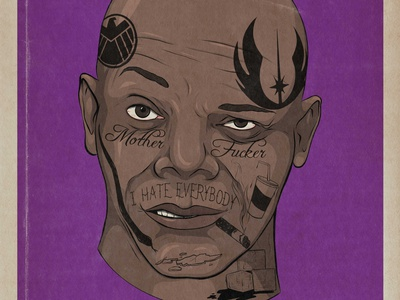 Samuel L Jackson tattoo design movie art film advertising illustration comedy celebrity adobe illustrator illustration
