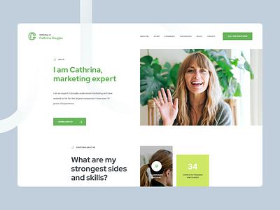Cathrina Douglas - Personal CV landingpage onepage cv vitae curriculum webdesign poland wordpress ratajczyk theme visiontrust ux ui website design web