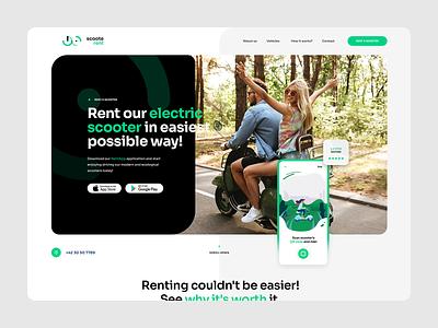 ScooteRent 🛵⚡️ ratajczyk rental app app landingpage landing logo visiontrust wordpress theme ux ui website rental rent scooter