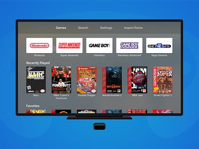 Provenance - AppleTV Rom Emulator Re-design video game rom emulator sega genesis gameboy advance gameboy super nintendo nintendo tv game provenance appletv tvos
