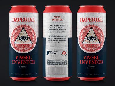 Angel Investor Imperial Stout mandala eye ipa stout label drink can packaging branding beer