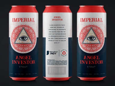 Angel Investor Imperial Stout mandala eye ipa stout label drink can packaging branding beer