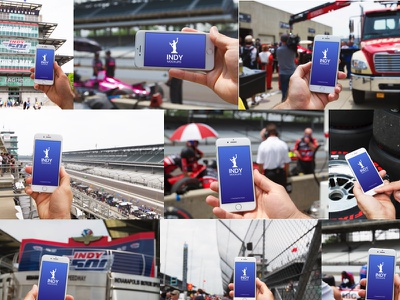 Indy500 iPhone Photo Mockups, Racing Edition angle sketch photoshop race car indianapolis indy500 racing mobile mockups free freebie iphone
