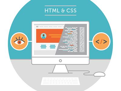 HTML + CSS Illustration browser css html javascript code coding tech computer illustration