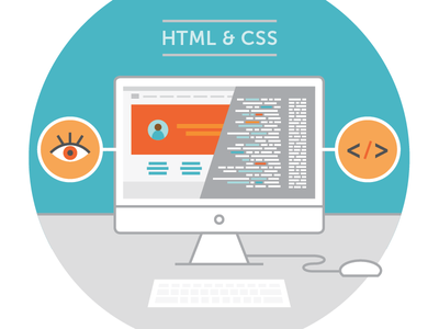 HTML + CSS Illustration browser css html javascript code coding tech computer illustration