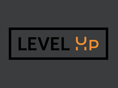 Level Up  skill black modern level up orange icon logo
