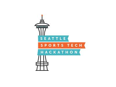 Seattle Hackathon Logo washington iconography banner sports icon logo space needle seattle
