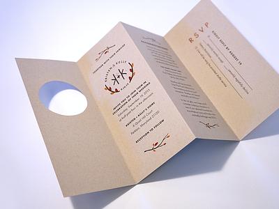 Accordion Fold Wedding Invitation die-cut accordion leaves rustic autumn fall invitation invite wedding