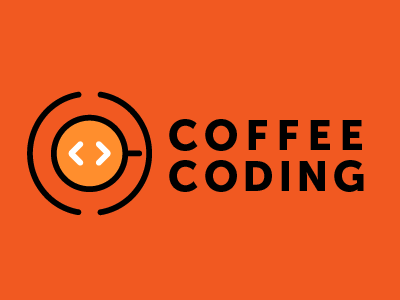 Coffee Coding Icon html web development brackets coding icon logo mug coffee cup coffee