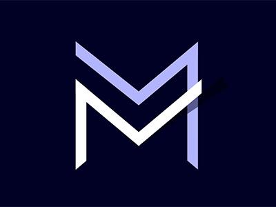 Monogram logo exploration angles sharp symmetrical shadow type logo letter monogram navy m