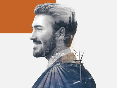 Double Exposure University Campaign business university beard man silhouette profile portrait urban city duotone double exposure facebook ad solar china wind turbine energy