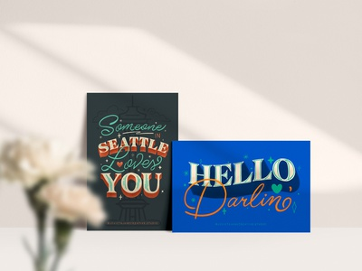 Postcard Series: Hello Darlin' creativestudio smallbusiness womanowned letteringartist 2020postcardseries postcardseries lettering art procreateapp lettering illustrator postcard design postcard project designer