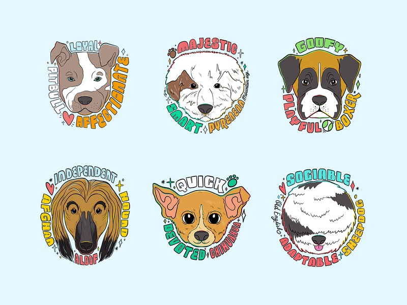 Doggust 2020 Badges: Week 1 illustrator illustration badgedesign dogbadges dogdrawings drawing