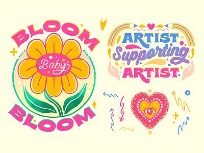 Day18 #30DaysofPlay - Bloom. Artist. Heart Eyes! womanownedbusiness artist bloombabybloom animation potentialgif animatedgif gif passionproject procreateapp lettering art design illustration art lettering illustrator illustration