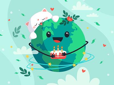 International Earth Day postcard design design illustration planet earth planet earthday2020 earthday
