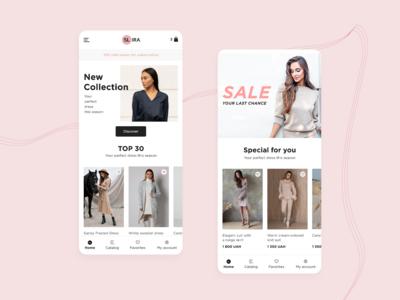 SL.IRA fashion brand mobile app concept